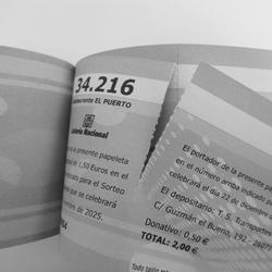 Talonario de rifas, lotería y entradas a doble cara en B/N 21x7 cm.